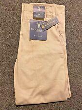 U.S Polo Assn. School Uniform Flat Front Pants Boys 14 Tan Adjustable Waist Nwt