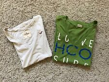 BTS LOT OF 2 HOLLISTER SS SHIRTS V NECK GREEN & OATMEAL SIZE XS X SMALL