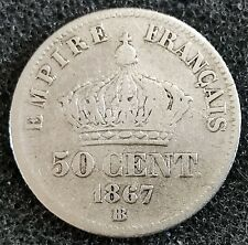 50 Cts 1867 Argent Napoleon III Tete Laurée BB Strasbourg Second Empire
