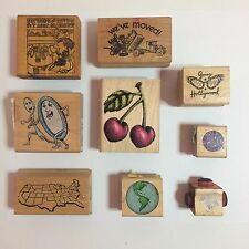 Set of 9 Vintage Misc Themed Rubber Stamps - Truck, Hollywood, United States