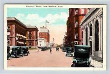 New Bedford MA, Pleasant Street, Bank, Shops, Vintage Massachusetts Postcard