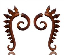 Tribal Brown Wooden African Dragon Design Carved Fake Gauge Wood Earring WER038