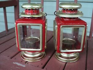 2- Farmhouse Country  RUSTIC RED LANTERN Candle Pillar Holder