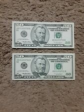 1996 series US $50 New York Federal Reserve 2 consecutive notes above circulated