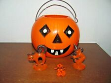 Vintage Hard Plastic Rosbro Halloween Pumpkin Candy Container & Mini Figures