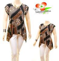 Women PLUS Faux Silk Knit Jersey Asymmetric Black Patched Tunic Blouse Shirt Top