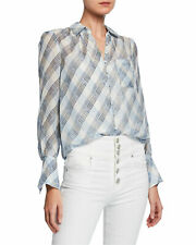 JOIE Malcah Women's Blouse Large Check Plaid Silk Long Sleeve Button Front Top