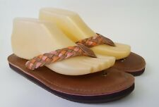 SPERRY TOP-SIDER Brown Pink Orange Leather Thong Sandals Women's Shoes Sz 8