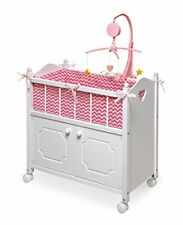 Wind-up Musical Mobile Cabinet Doll Crib for keeping Doll Clothes & Accessories