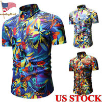 2019 Men's Abstract Print Shirts Short Sleeves Stand Collar Tops Tee Size S-2XL