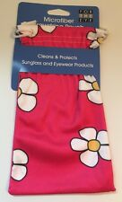 Hot Pink Floral Microfiber Drawstring Pouch
