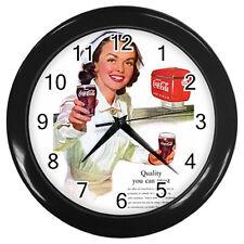 Wall Clock Nurse With Ice Cold - Coca-Cola Coke Retro Ads 1952 Retro Rare! BLACK