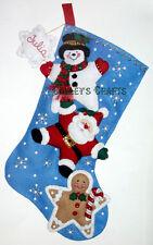 "Bucilla Christmas Stars ~ 18"" Felt Stocking Kit #86300, Santa, Snowman 2011"
