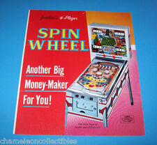 SPIN WHEEL By GOTTLIEB 1968 ORIGINAL PINBALL MACHINE SALES FLYER BROCHURE