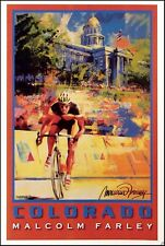 "Malcolm Farley ""Denver Cycling"" biking offset lithograph Make an Offer L@@K"