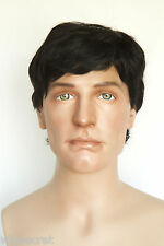 Black Brunette Medium Human Hair Straight Men Wig