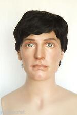 Black Brunette Medium Human Hair Straight Men Wig
