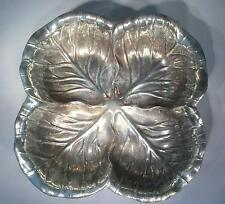 Wilton Co RWP Pewter Cabbage Leaf 4 Section Snack Serving Bowl - FREE SHIPPING!