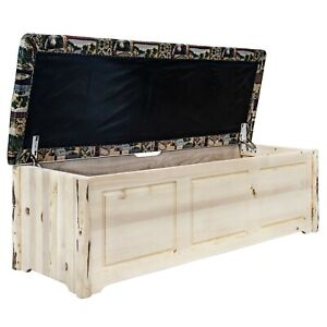 Rustic Pine Blanket Chest Padded Seat Amish Made Log Chests  Large Toy Box