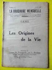 Anarchie La Brochure Mensuelle 44 1926 F.-O. Ritz Les Origines de la Vie