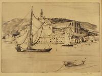 VINTAGE LOREN BARTON ETCHING NAUTICAL SHIP HARBOR SCENE SIGNED FRAMED TRANQUIL !