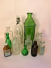 Large Mixed  Lot of 14 Vintage Apothocary & Deco Bottles