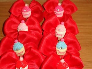 10 Hand Tied Red Grooming Bows CUP CAKE Centre
