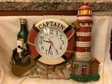 Vintage Retro Eleco Captain Quartz Wall Clock w Sound-Lighthouse-Anchor-Shells