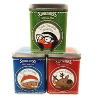3 Swiss Miss Hot Cocoa Collectible Christmas Tins Penguin, Reindeer, Gingerbread
