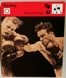 """Marcel Cerdan 1977 Boxing Sportscaster 6.25"""" Card 07-07 The Moroccan Bombshell"""