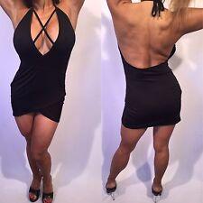 Connie's Sleeveless Black faux wrap  Mini Dress w X cross String chest detail L