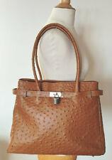 T. beau grand sac vintage cuir autruche véritable fabrication italienne TBE