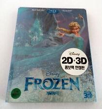 Disney Frozen Blu-ray 3D + 2D Exclusive Korean SteelBook Full Clear Slipcover