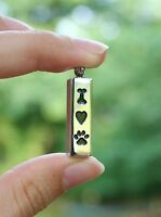 Pet Cremation Jewelry Pendant Urn for Ashes I Love My Dog Bone Heart Paw Print