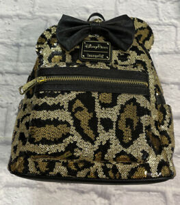 NWT Disney Parks Loungefly Sequin Leopard Cheetah Mini Backpack Bag IN HAND
