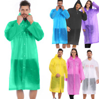 Women/Men Waterproof Jacket Clear PE Raincoat Rain Coat Hooded Poncho Rainwear