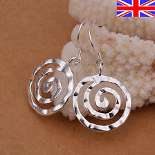 Ladies 925 Silver Circle Earrings Drop Hammered Finish Spiral Dangle Gift Bag