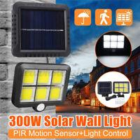 300W COB 124 LED Solarleuchte Solarlampe Wandleuchte Bewegungsmelder Flutlicht