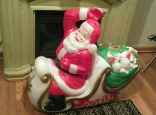 "Empire Santa sleigh  filled with toys lights up 36"" blow mold vintage #2"