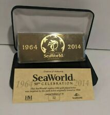 SeaWorld 50th Celebration Replica 24kt Gold Plated Ticket Limited edition 32/50