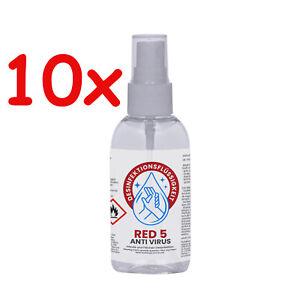 10 x 100 ml Red 5 Desinfektionsmittel Schnell Händedesinfektion Taschenflasche