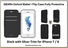 Gear4 Oxford D30 Shockproof Wallet Flip Case for Apple iPhone 7 / 8 Black Silver