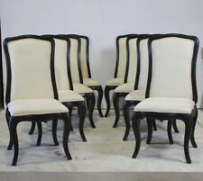 Set of 4 high back dining chairs mahogany antiqued black with off white fabric