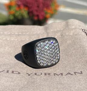David Yurman Black Titanium White Topaz Signet Ring Sz 8.75