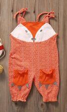 NWT Baby Girls Fox Orange Romper Overalls Jumpsuit 0-6 6-12 12-18 18-24 Months