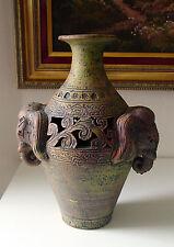 Elephant Head Pottery Vase Decorative Asian Collectible Vase Thailand Mint
