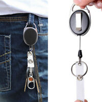 Retractable Reel Pull Key Chain ID Card Badge Tag Belt Clip Holder Carabiner