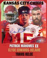 Patrick Mahomes II, Travis Kelce, Clyde Edwards-Helaire KS Chiefs 8x10 Wall Art
