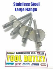 """(Qty 25)  3/16"""" x 1/4"""" Grip ALL Stainless Steel Large Flange POP Rivet 64LF"""