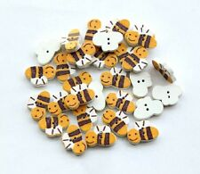 Lot of 10 BEE 2-hole Wood Buttons 5/8